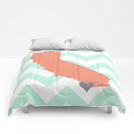 San Diego California in Coral on Mint Chevron Comforters