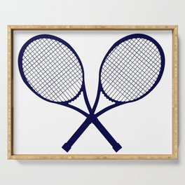 Crossed Rackets Silhouette Serving Tray
