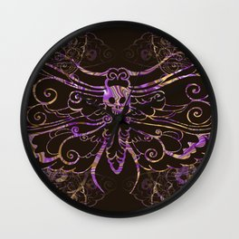 Hawkmoth Pattern in purple and brown Wall Clock