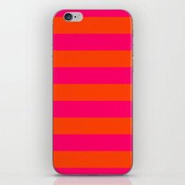 Bright Neon Pink and Orange Horizontal Cabana Tent Stripes iPhone Skin