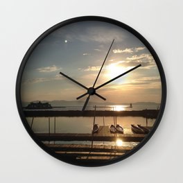 Lake Champlain Ferry to Burlington Vermont at Sunset Wall Clock
