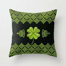 Irish Shamrock Four-leaf clover with celtic decor Throw Pillow
