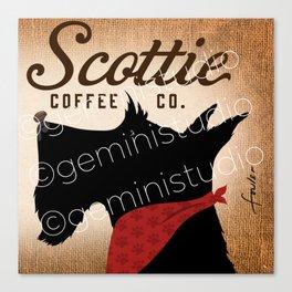 Scottie Coffee Company Dog Artwork by Stephen Fowler Canvas Print
