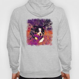 border collie jumping in water vector art late sunset Hoody