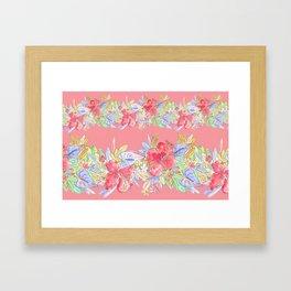hawaiian flowers red pink Framed Art Print