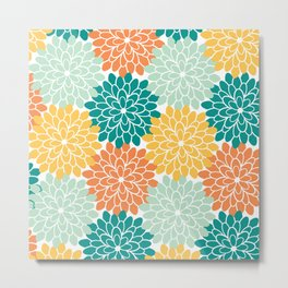 Petals in Orange, Mint, Apricot and Jade Metal Print