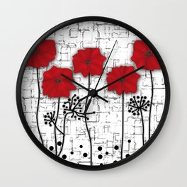 Applique. Poppies on a bright white background . Wall Clock