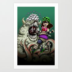 Roller Derby Girl Fighting Monster Art Print