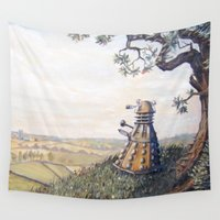 dalek Wall Tapestries featuring A rather Dalek afternoon by skot olsen