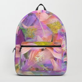 blooming pink daisy flower with purple flower background Backpack