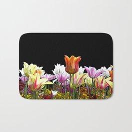 Tulips (black background) Bath Mat