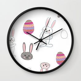 Cute bunny or rabbit and colorful easter eggs pattern Wall Clock