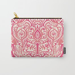 Strawberry and Cream Watercolor Tulip Damask Carry-All Pouch