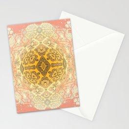 Boho Coral, Rose and Golden Neo Tribal Mandala Stationery Cards