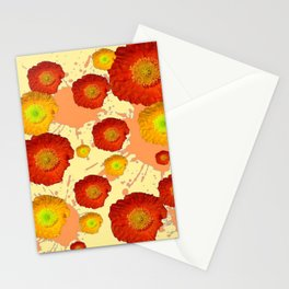 PAINTING ORANGE POPPIES SPLATTER ACCIDENTS YELLOW ART Stationery Cards