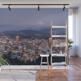 Portland Evening Urban Cityscape With Mt Hood Wall Mural