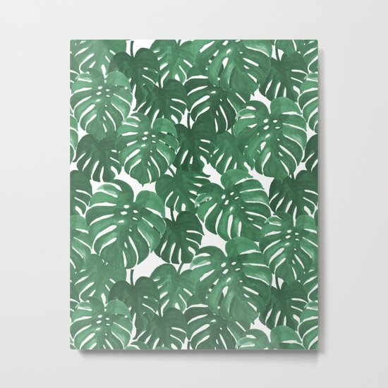 Monstera house plant leaf green painting pattern trendy hipster indoor house plant tropical garden   Metal Print