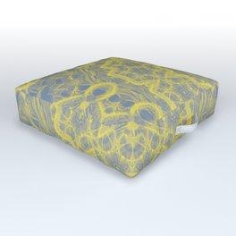 Dusty blue and yellow mandala Outdoor Floor Cushion
