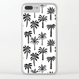 Palm Tree linocut pattern minimal tropical black and white minimalist Clear iPhone Case