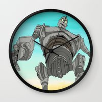iron giant Wall Clocks featuring Iron Giant by 117 Art