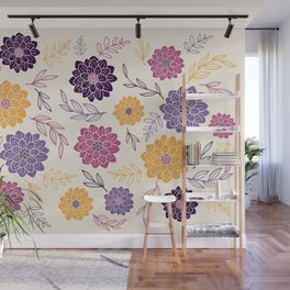Dahlia Flowers Illustration – Purple Violet and Yellow Wall Mural