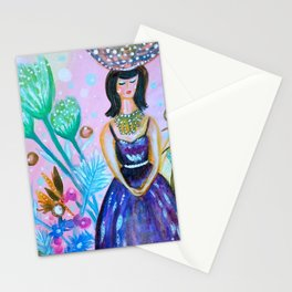 Wandering In My Favourite Purple Shiny Dress Stationery Cards