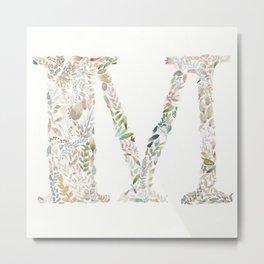 M of Leaves Metal Print