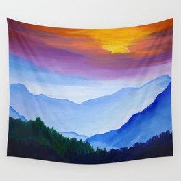 Smokey Mountain Sunset Wall Tapestry