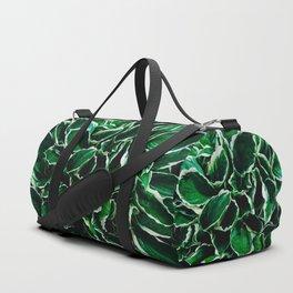 Hosta undulata albomarginata vibrant green plant leaves Duffle Bag