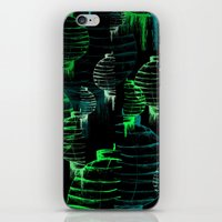 green lantern iPhone & iPod Skins featuring Lantern - green by Emma Stein