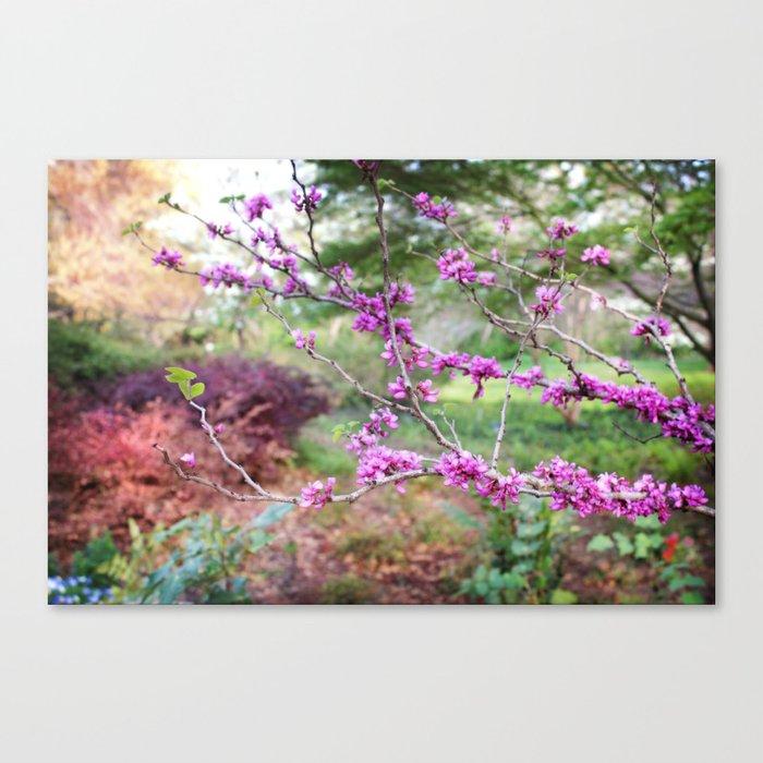 Fuchsia Floral Landscape Canvas Print