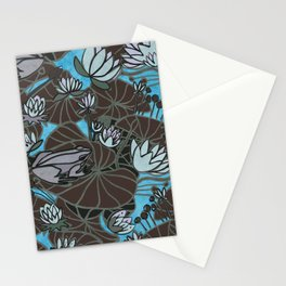 FROGS AND BROWN water lily VERSION. Stationery Cards