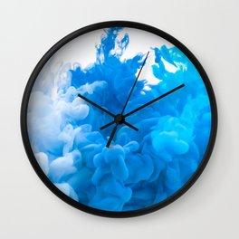 Blue Abstract Smoke Wall Clock