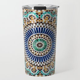 blue & gold moroccan tile Travel Mug