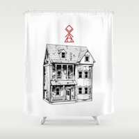 pagan Shower Curtains featuring Petite Mort by Tom Kitchen