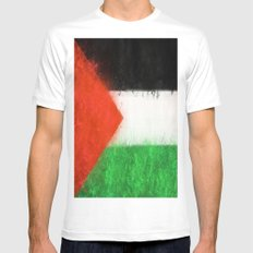 Palestine Mens Fitted Tee MEDIUM White