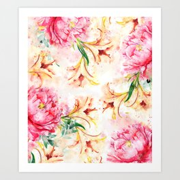 Peony Floral #society6 #floral #watercolor Art Print