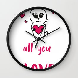 Valentines   All you need is love Rabbit Wall Clock