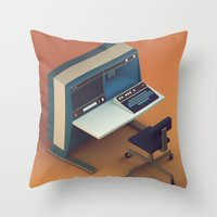 computer Throw Pillows featuring Vintage Computer by Michiel van den Berg