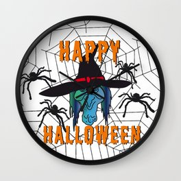 Witch Happy Halloween white Wall Clock