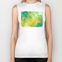 lime green Biker Tanks featuring Watercolor Lime by MadC Productions