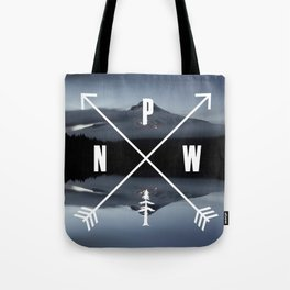 PNW Pacific Northwest Compass - Mt Hood Adventure Tote Bag
