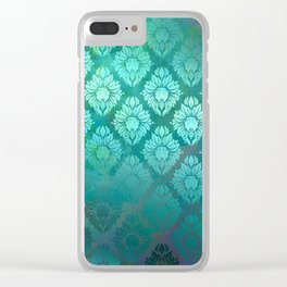 """Turquoise Ocean Damask Pattern"" Clear iPhone Case"