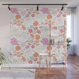Fresh orange Japanese pond flowers Wall Mural