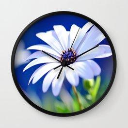 Happy White Daisy  by Kaye Menner Wall Clock