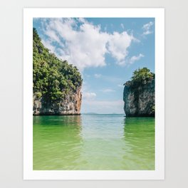 Crystal Waters and White Limestone Cliffs in Thailand Fine Art Print Art Print