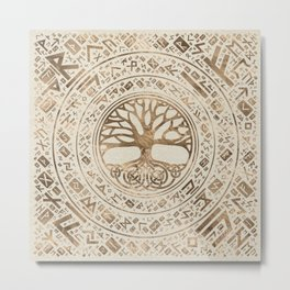 Tree of life -Yggdrasil Runic Pattern Metal Print