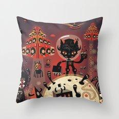 DJ Hammerhand cat - party at ogm garden Throw Pillow