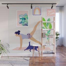 Girl Power Yoga pose Wall Mural