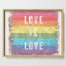 LGBTQ+ Pride Flag Love is Love Style 3 Distressed Brick Design Serving Tray